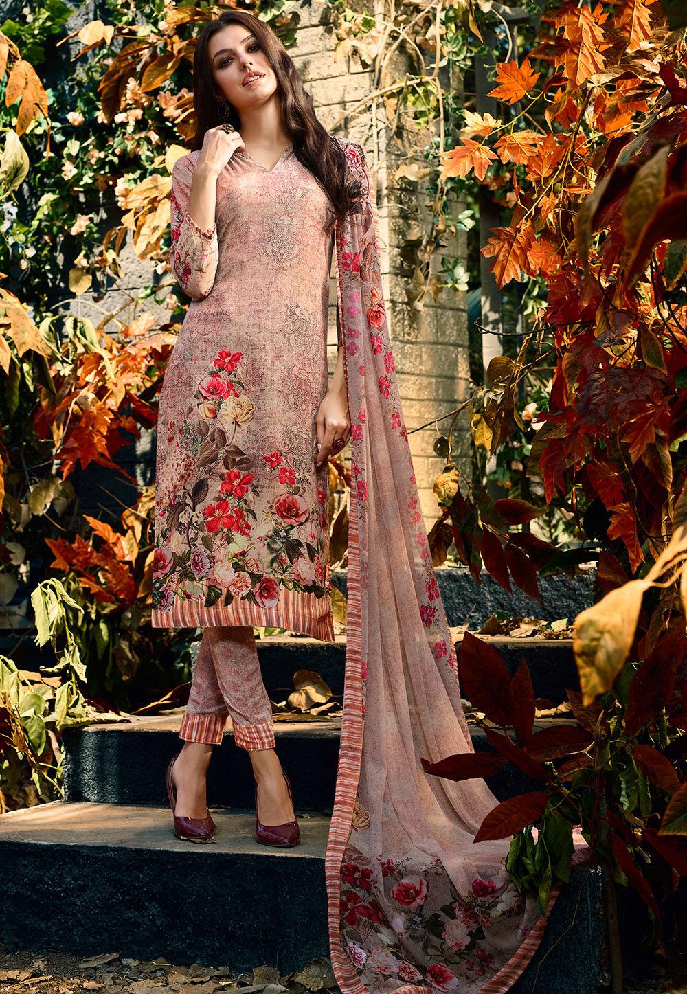 Digital Printed Crepe Pakistani Suit in Rose Gold