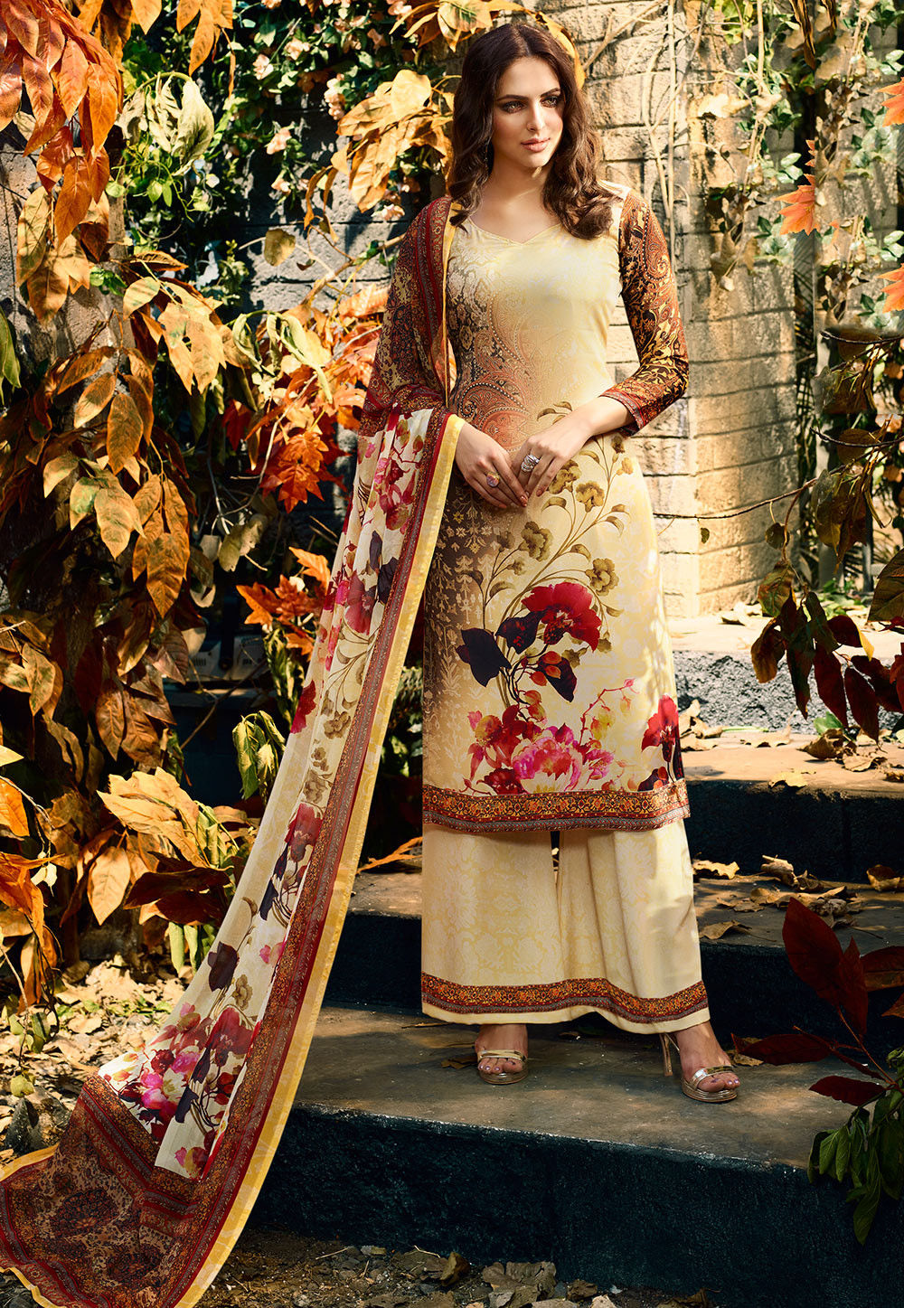Digital Printed Crepe Pakistani Suit in Yellow and Multicolor