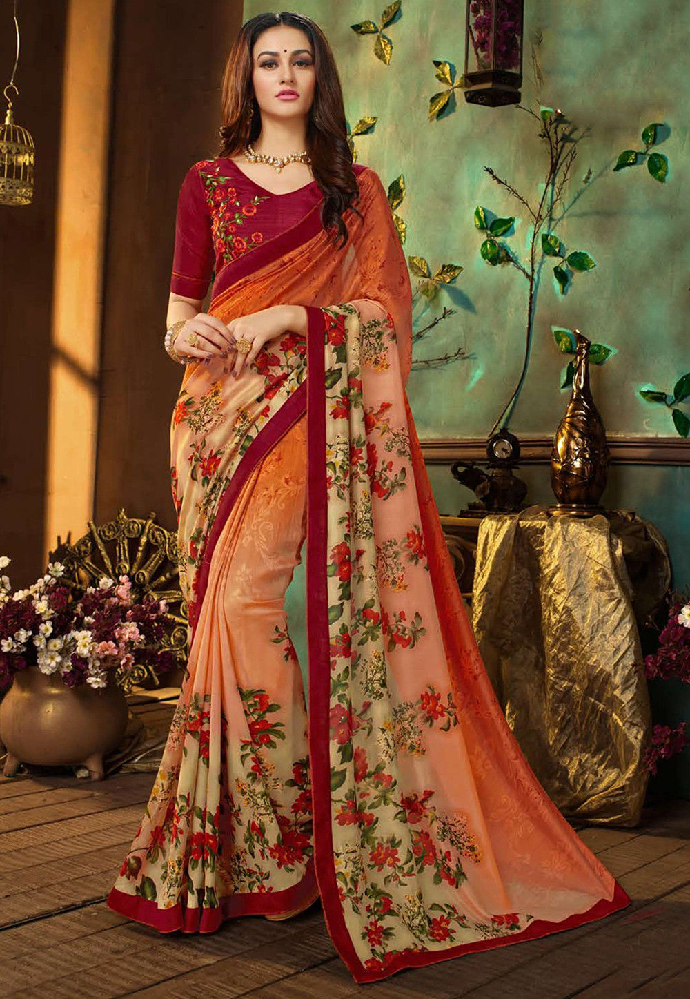 Digital Printed Georgette Saree in Orange Ombre
