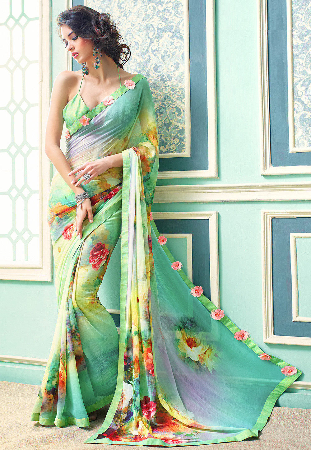 Digital Printed Georgette Saree In Sky Blue And Light