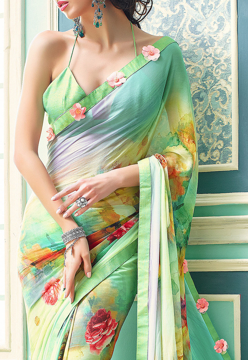 9bdccc8a5e3 Digital Printed Georgette Saree in Sky Blue and Light Green   SSF4528