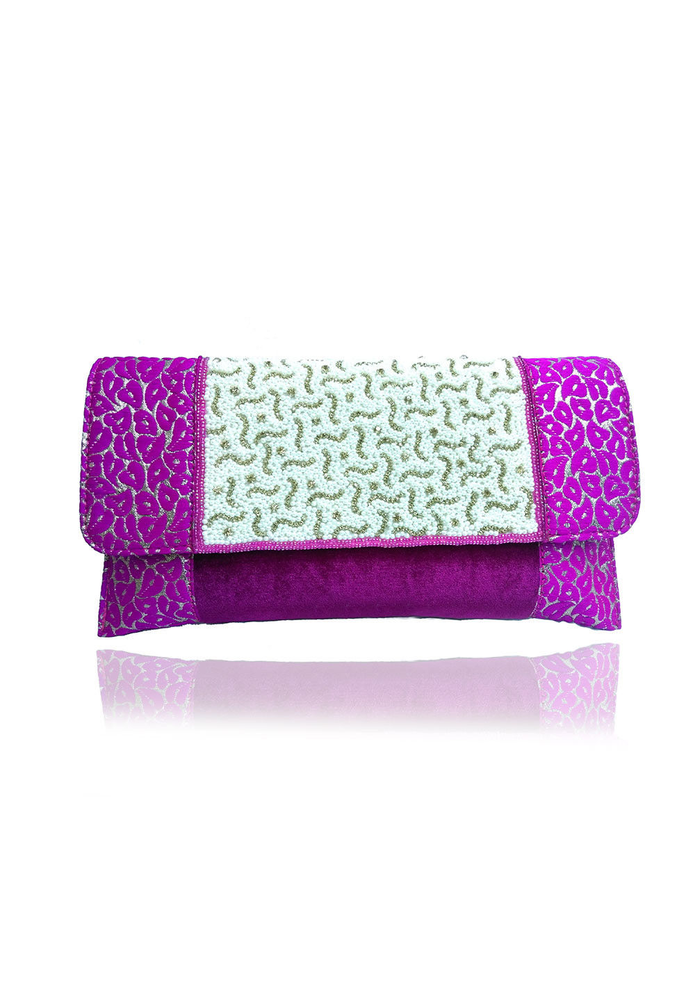 Embroidered Brocade and Velvet Clutch Bag in fuchsia and White
