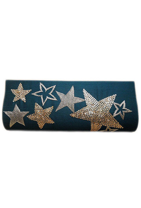 Embroidered Dupion Silk Clutch Bag in Teal Blue
