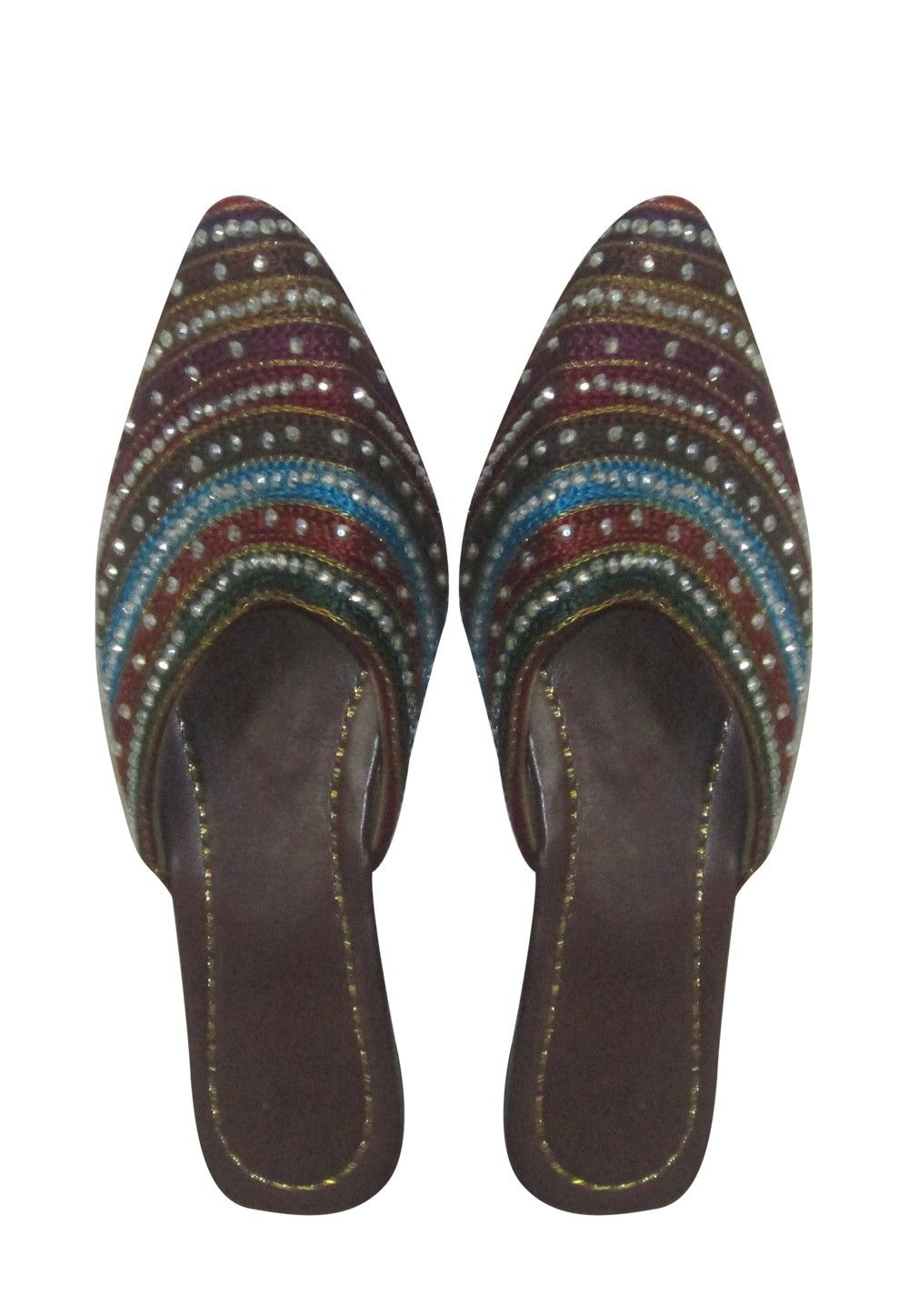 Embroidered Leather Sandal in Maroon