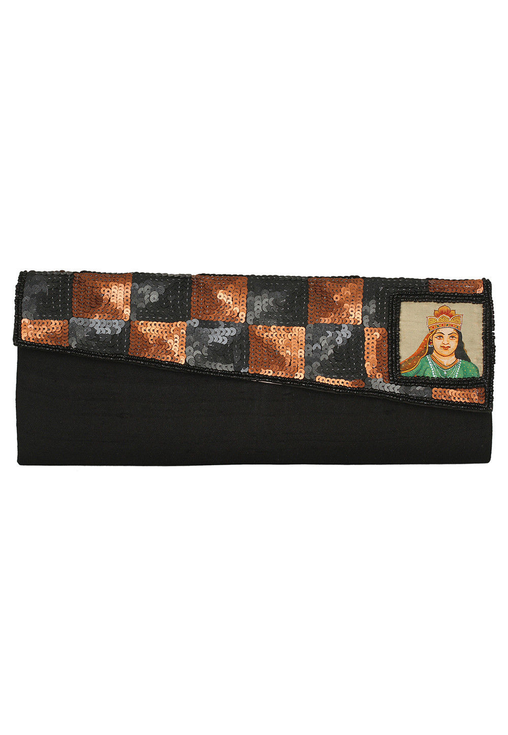 Hand Painted Dupion Clutch Bag in Black