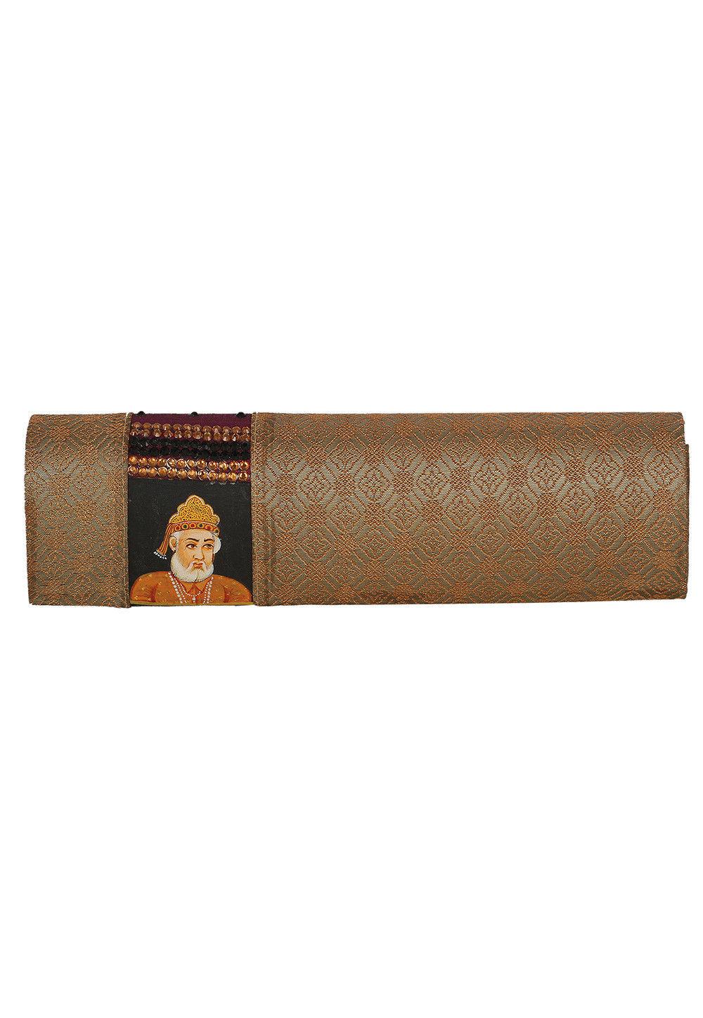 Art Silk Brocade Clutch Bag in Copper