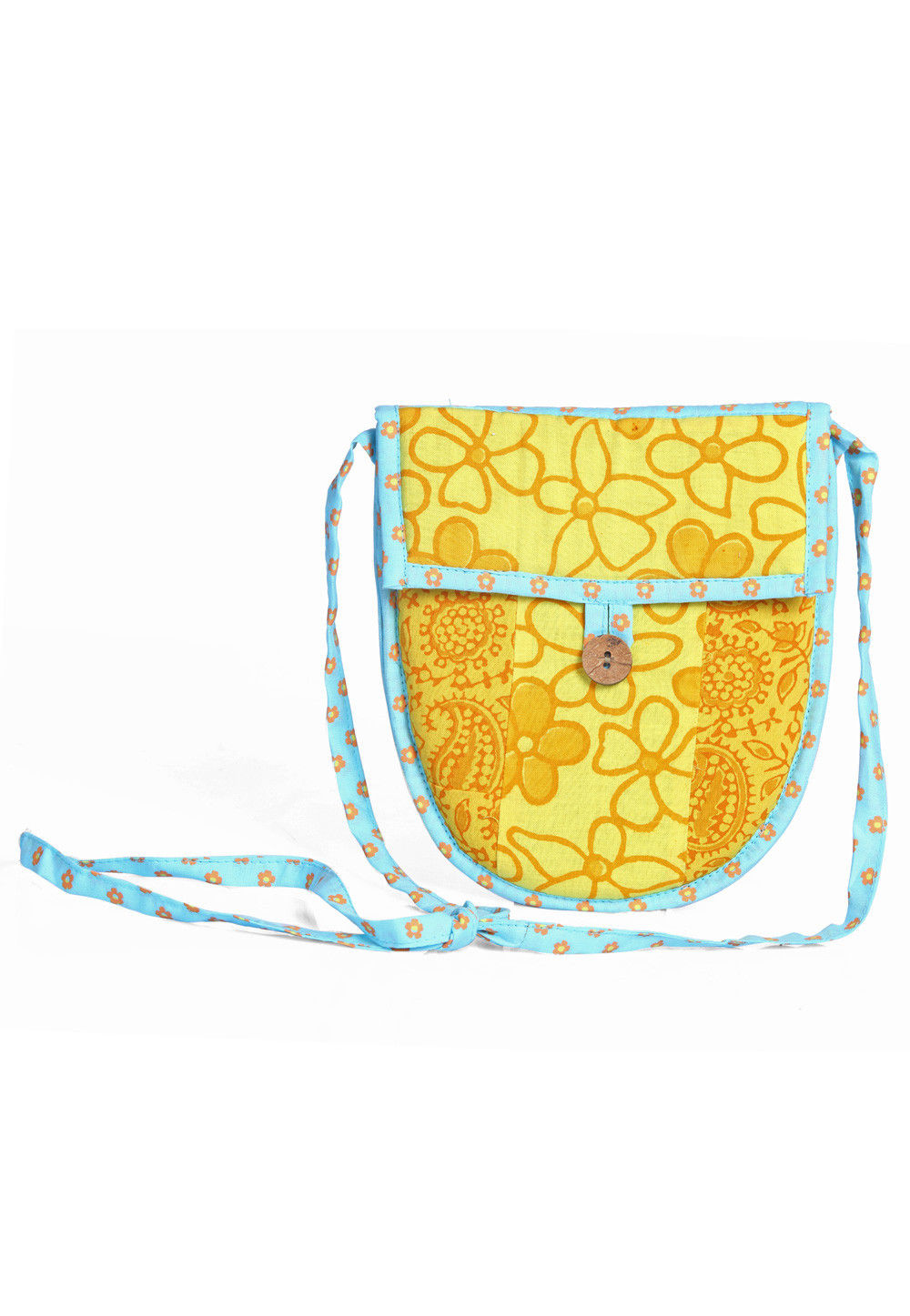 Printed Cotton Sling Bag in Yellow and sky blue
