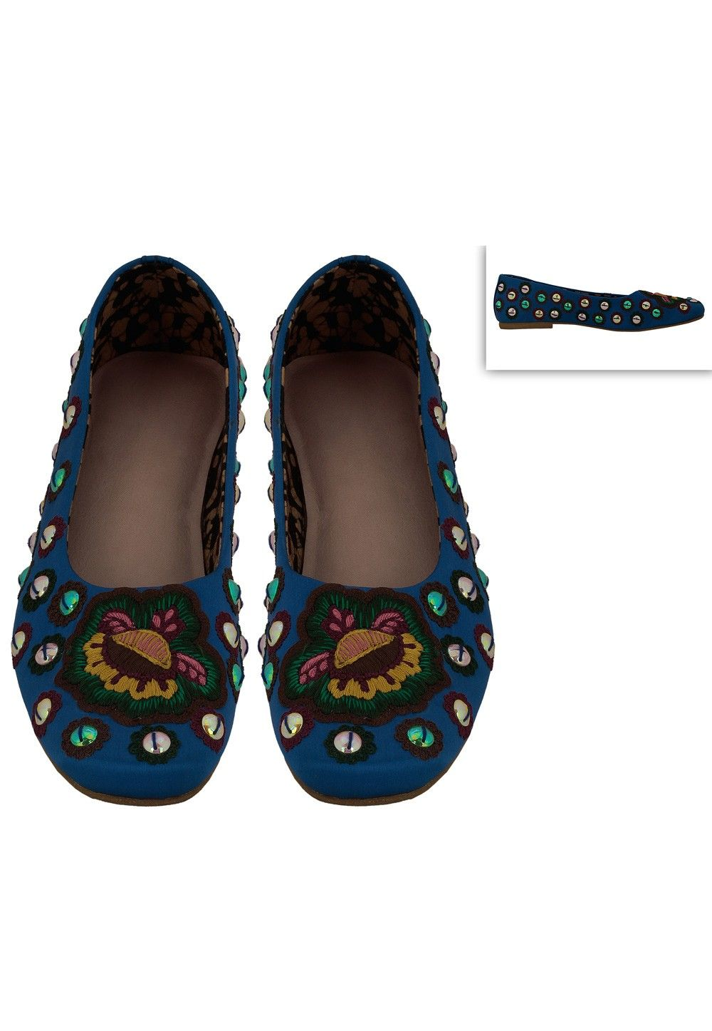 Embroidered Art Silk Ballerinas in Royal Blue