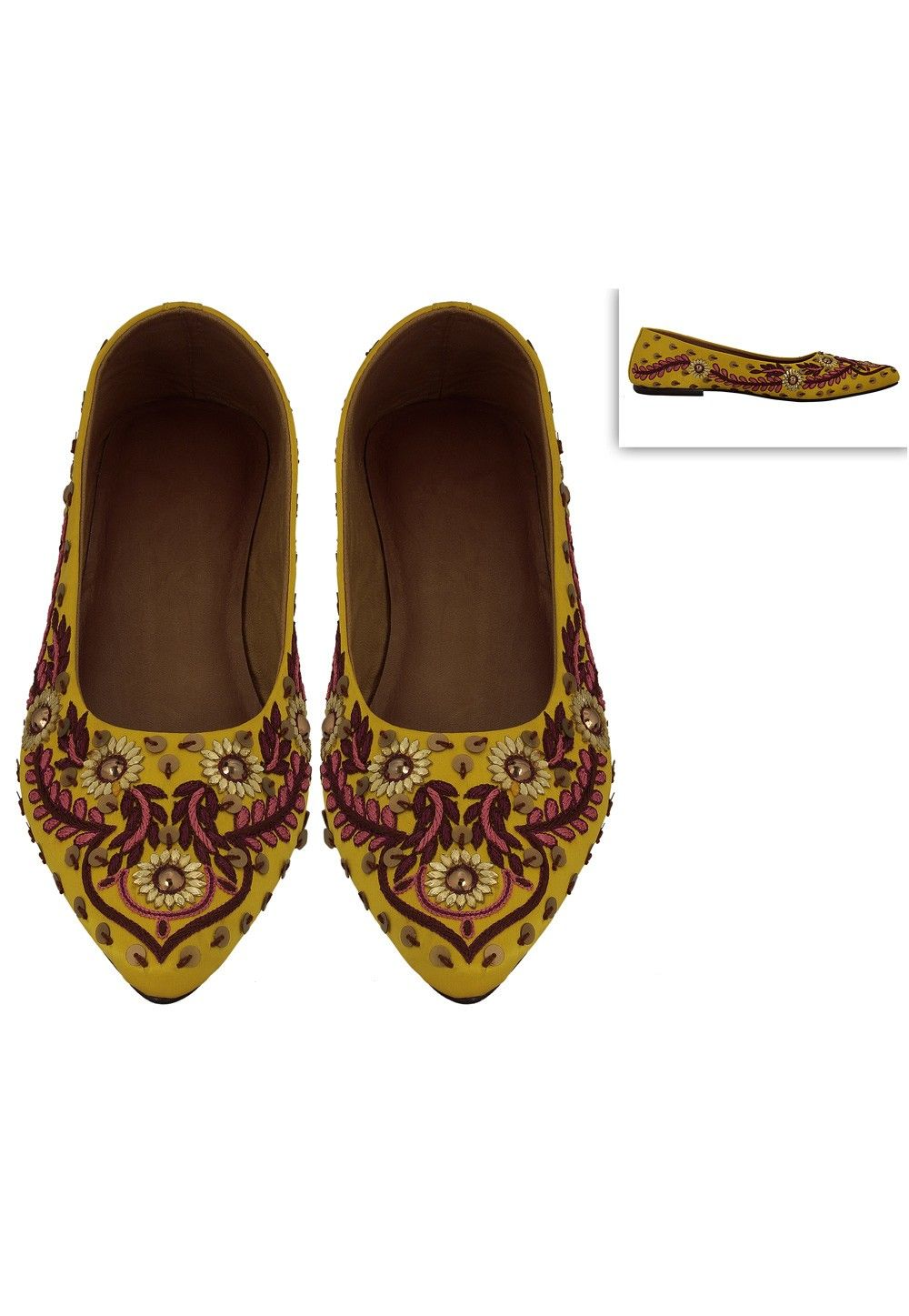 Embroidered Art Silk Mojari in Yellow