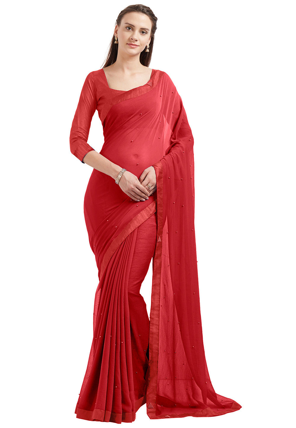Embellished Chiffon Saree in Red