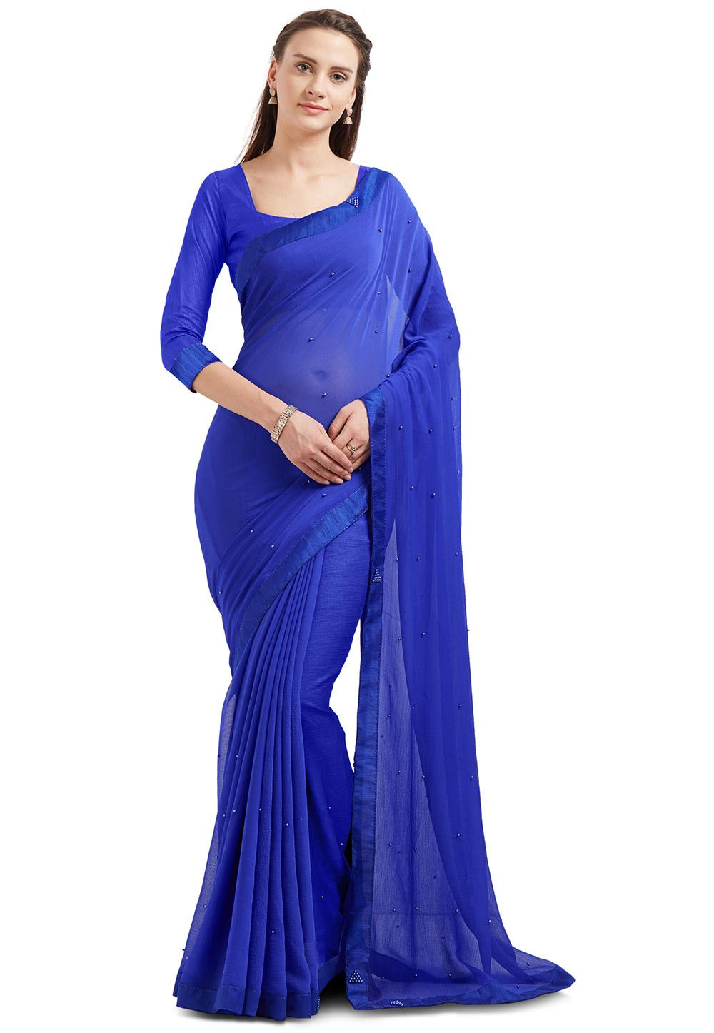 Embellished Chiffon Saree in Royal Blue