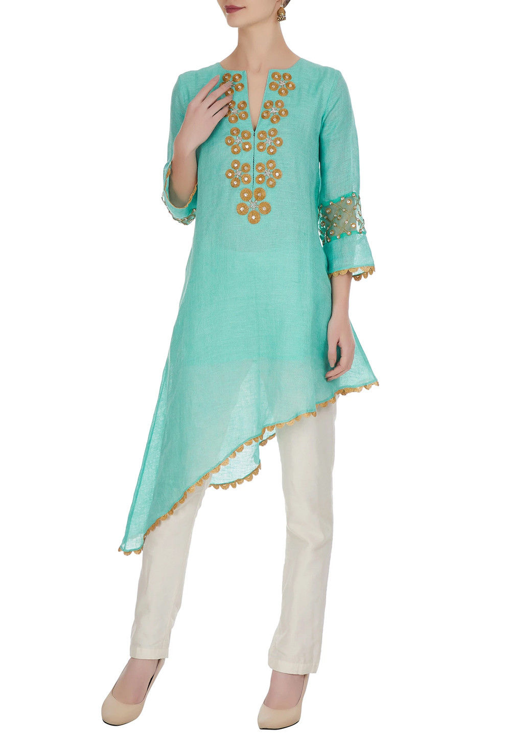 Embroidered Art Chanderi Silk Kurta Set in Turquoise