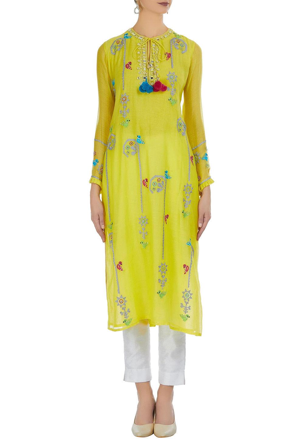 Embroidered Art Chanderi Silk Kurta Set in Yellow