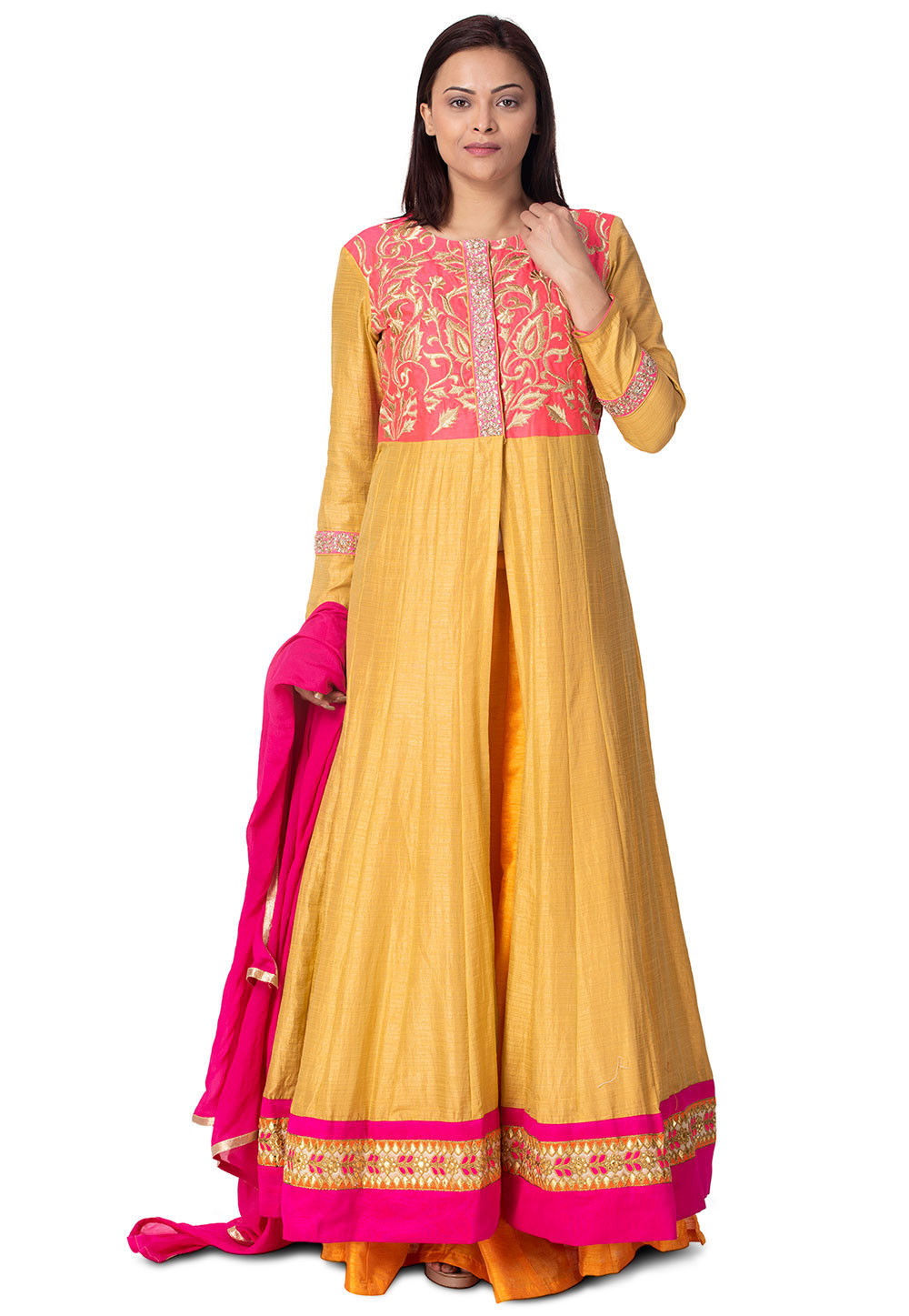 Embroidered Art Silk Abaya Style Suit in Mustard