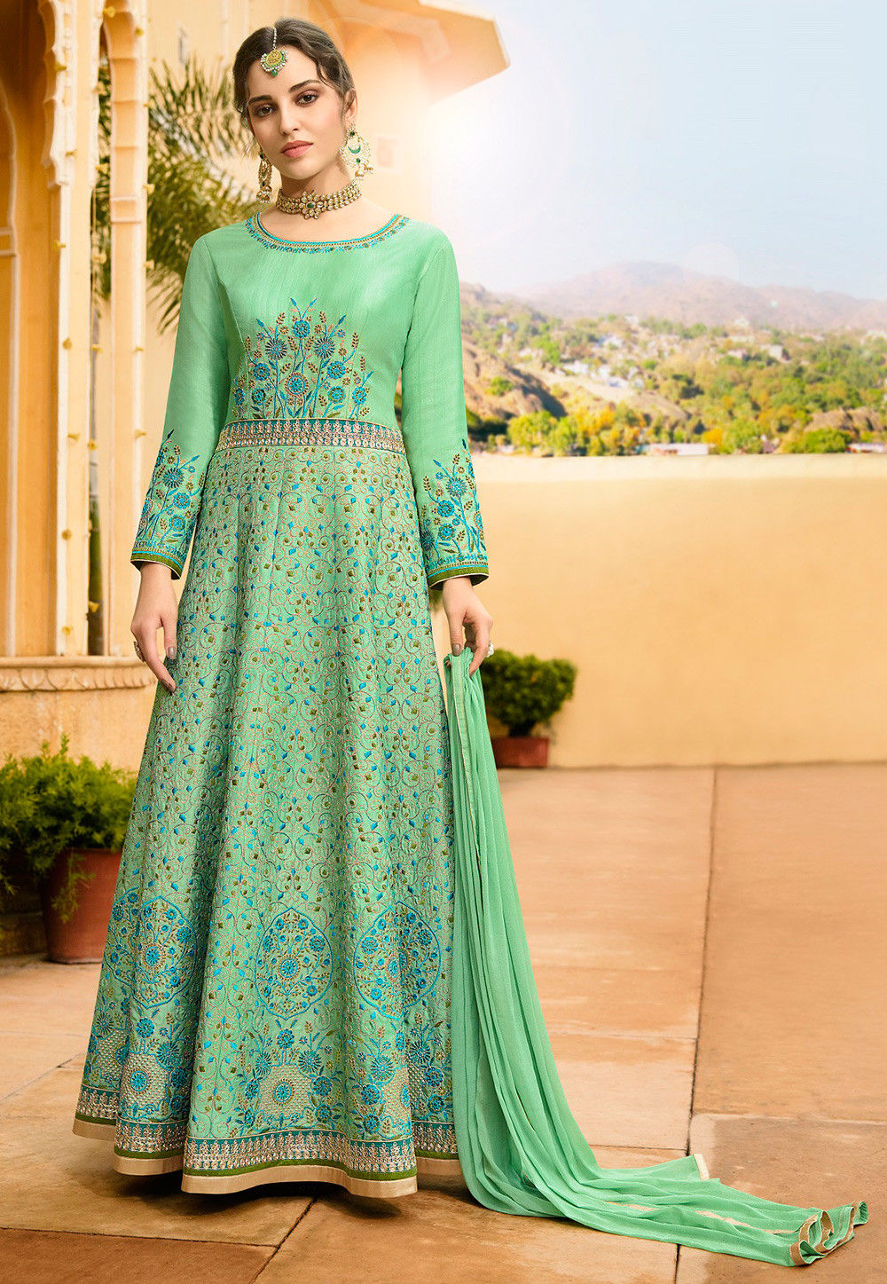 Embroidered Art Silk Abaya Style Suit in Sea Green