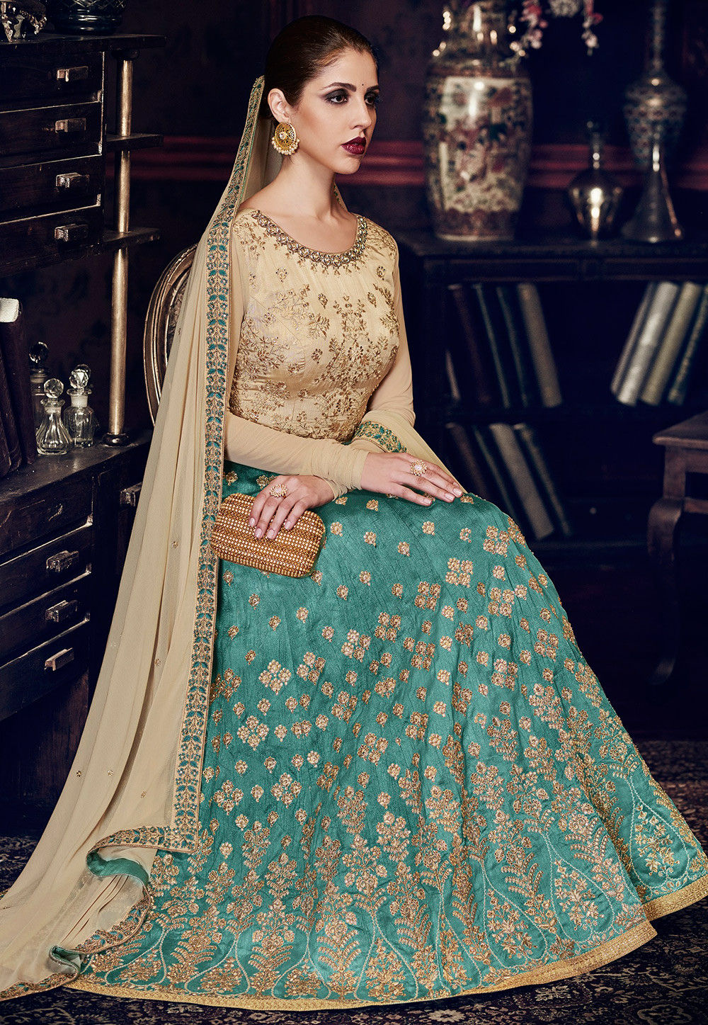 Embroidered Art Silk Abaya Style Suit in Teal Blue and Beige