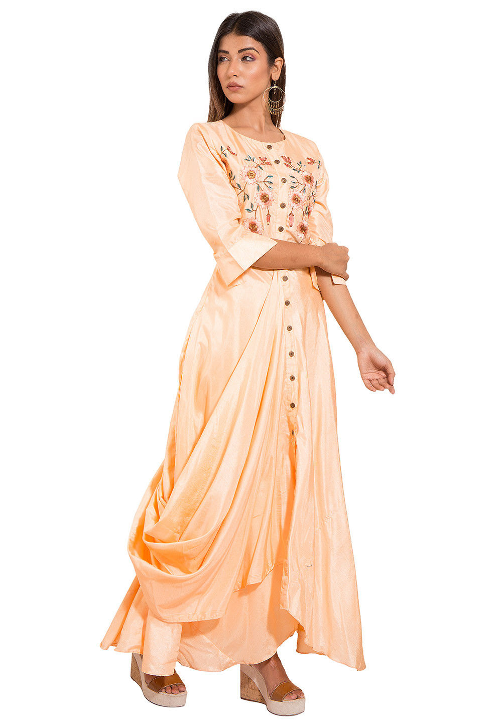 6e343fbf14956 Embroidered Art silk Cowl Style Gown in Light Peach : TJW1162