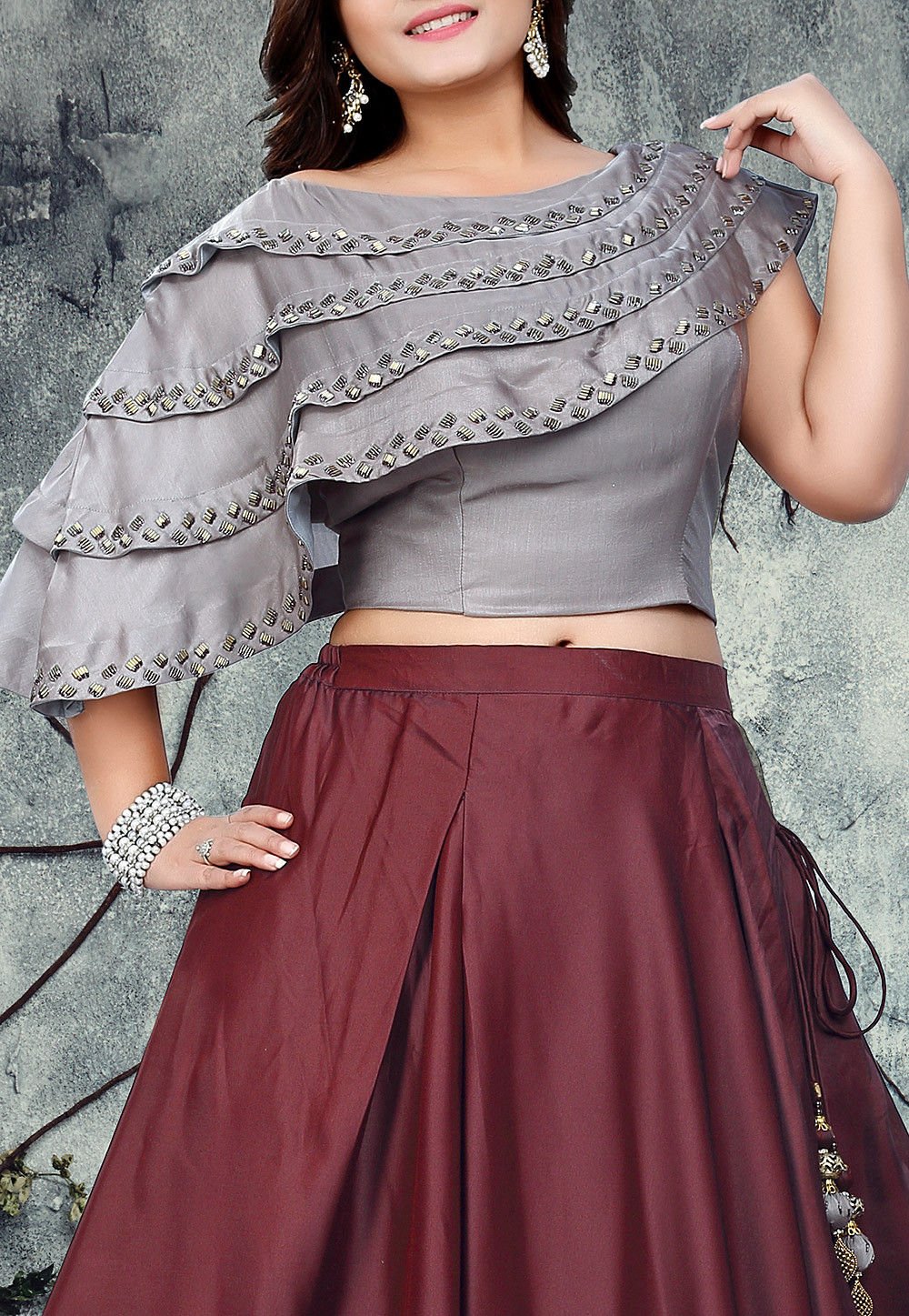 Embroidered Art Silk Crop Top With Skirt In Grey And Maroon Tgv18 Shop designer crop tops, spaghetti tops, strap tops, printed tops, wrap tops, asymmetrical tops, embroidered tops, smocking top & much more. embroidered art silk crop top with skirt in grey and maroon