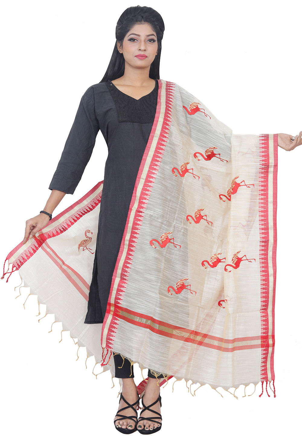 Embroidered Art Silk Dupatta in Light Beige and Coral Red