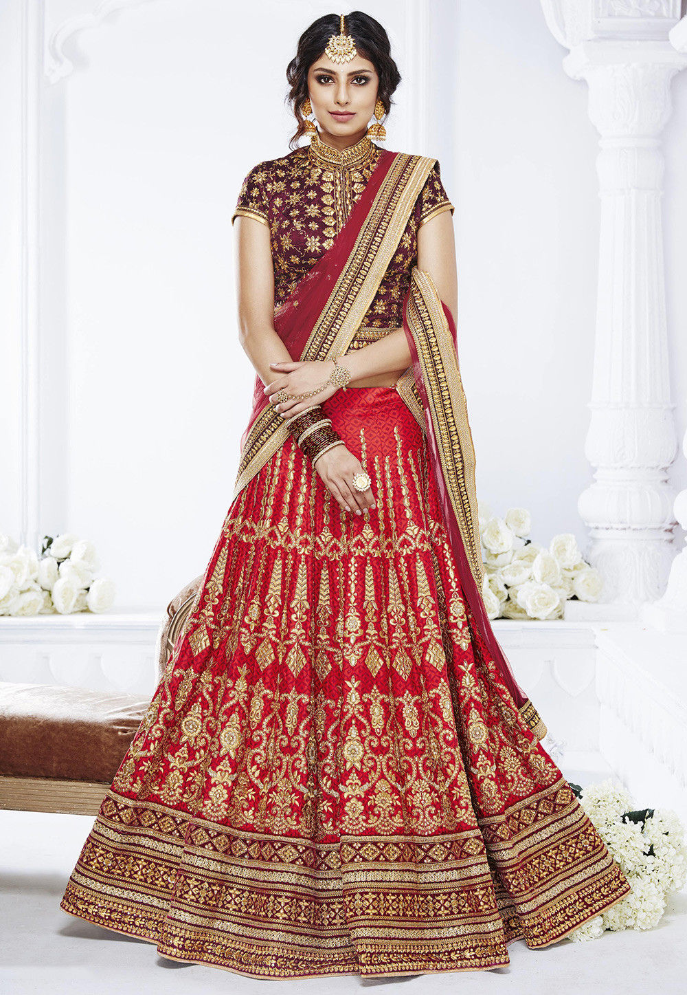 Embroidered Art Silk Jacquard Lehenga in Red