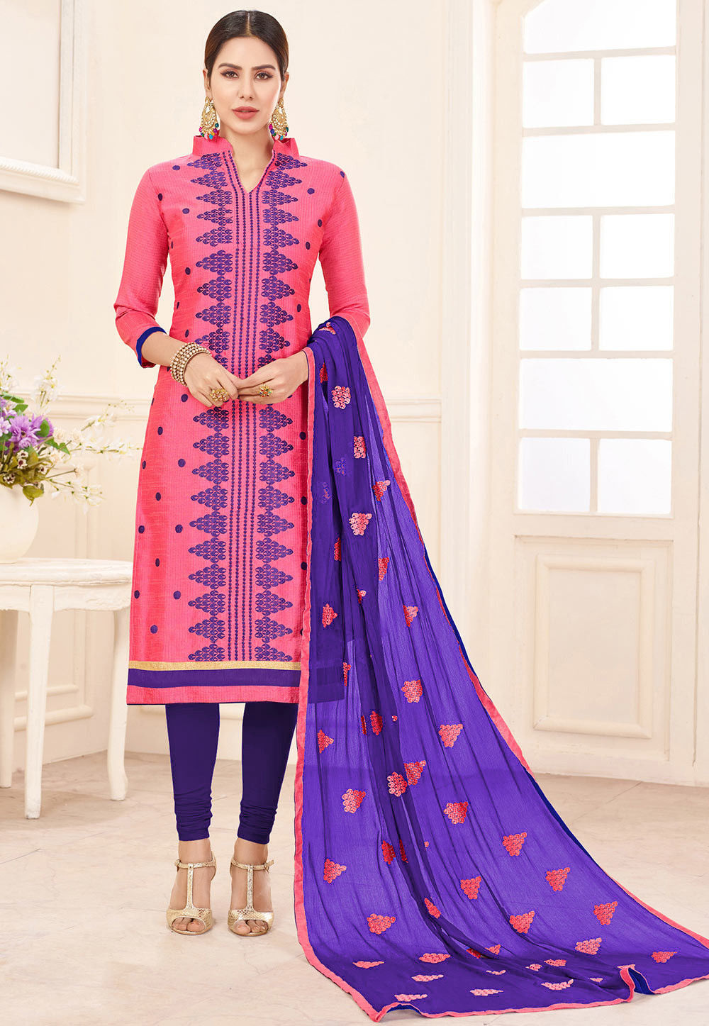 Embroidered Art Silk Jacquard Straight Suit in Pink