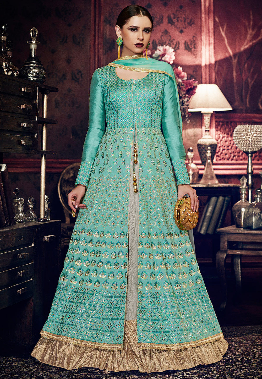 Embroidered Art Silk Layered Abaya Style Suit in Light Blue