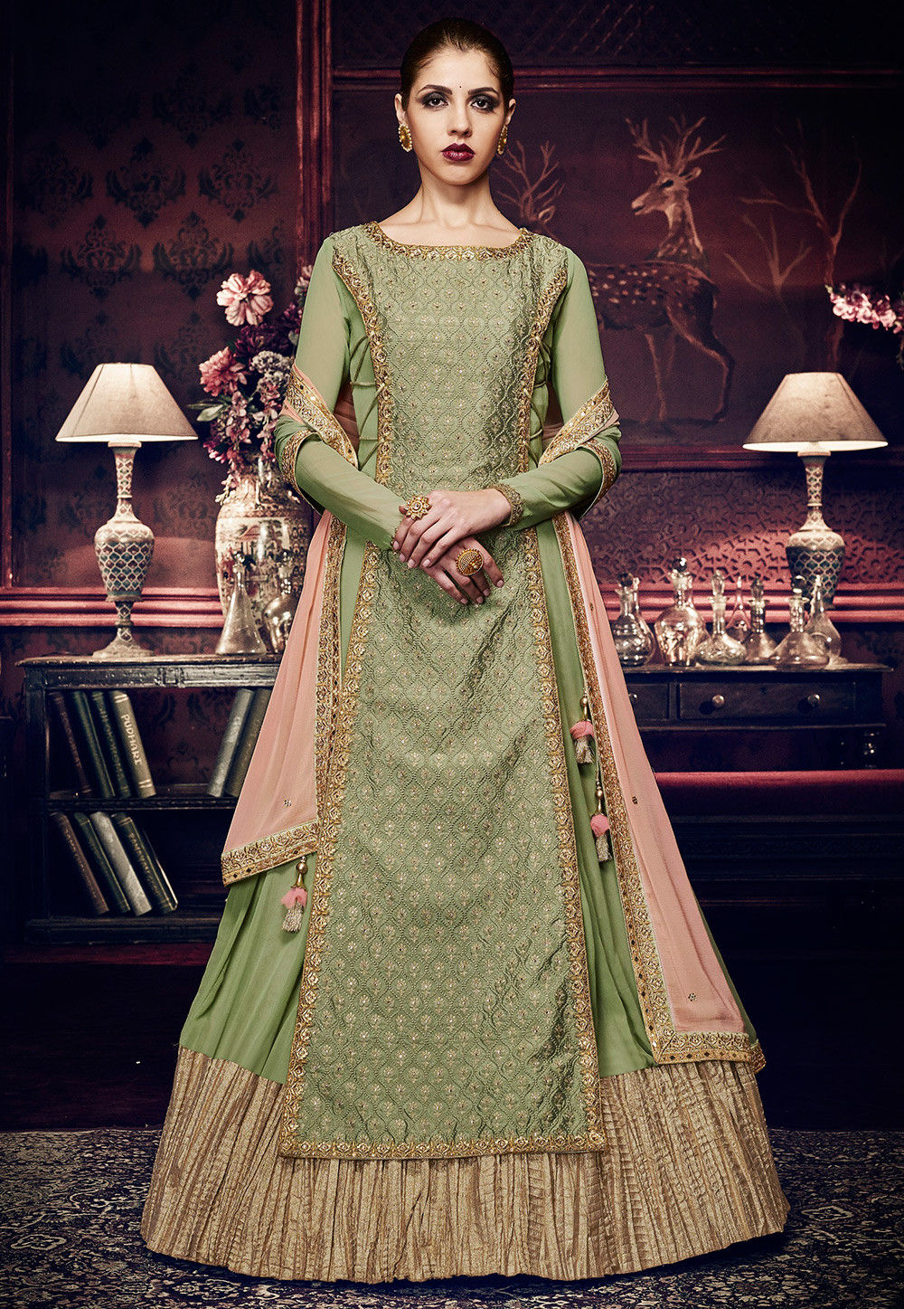 Embroidered Art Silk Layered Abaya Style Suit in Pastel Green