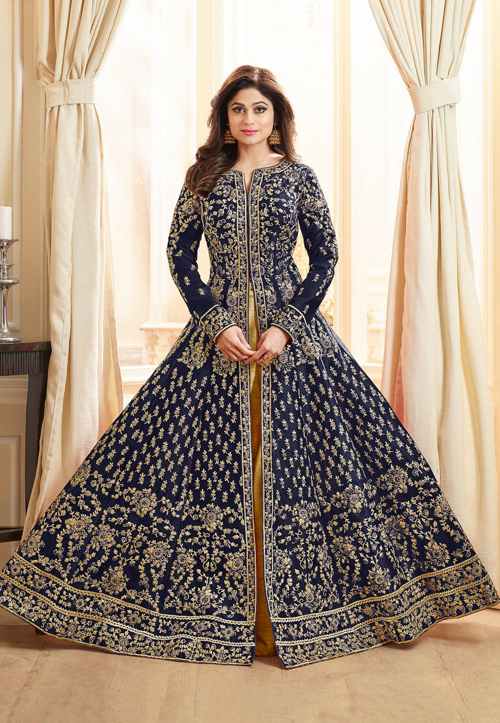 2a6d17e37cb92 ... Embroidered Art Silk Lehenga in Navy Blue. Zoom