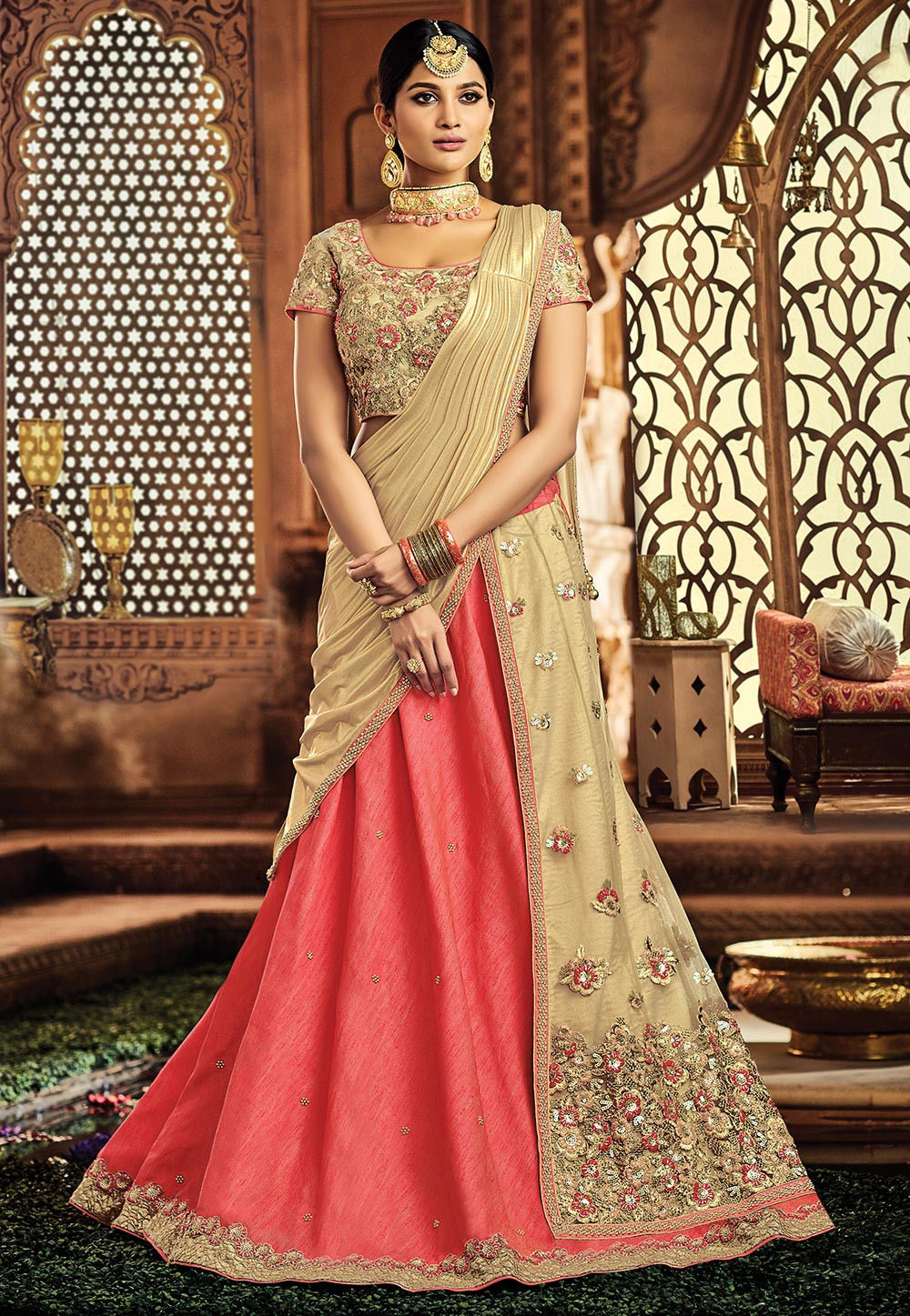 Embroidered Art Silk Lehenga in Pink and Beige