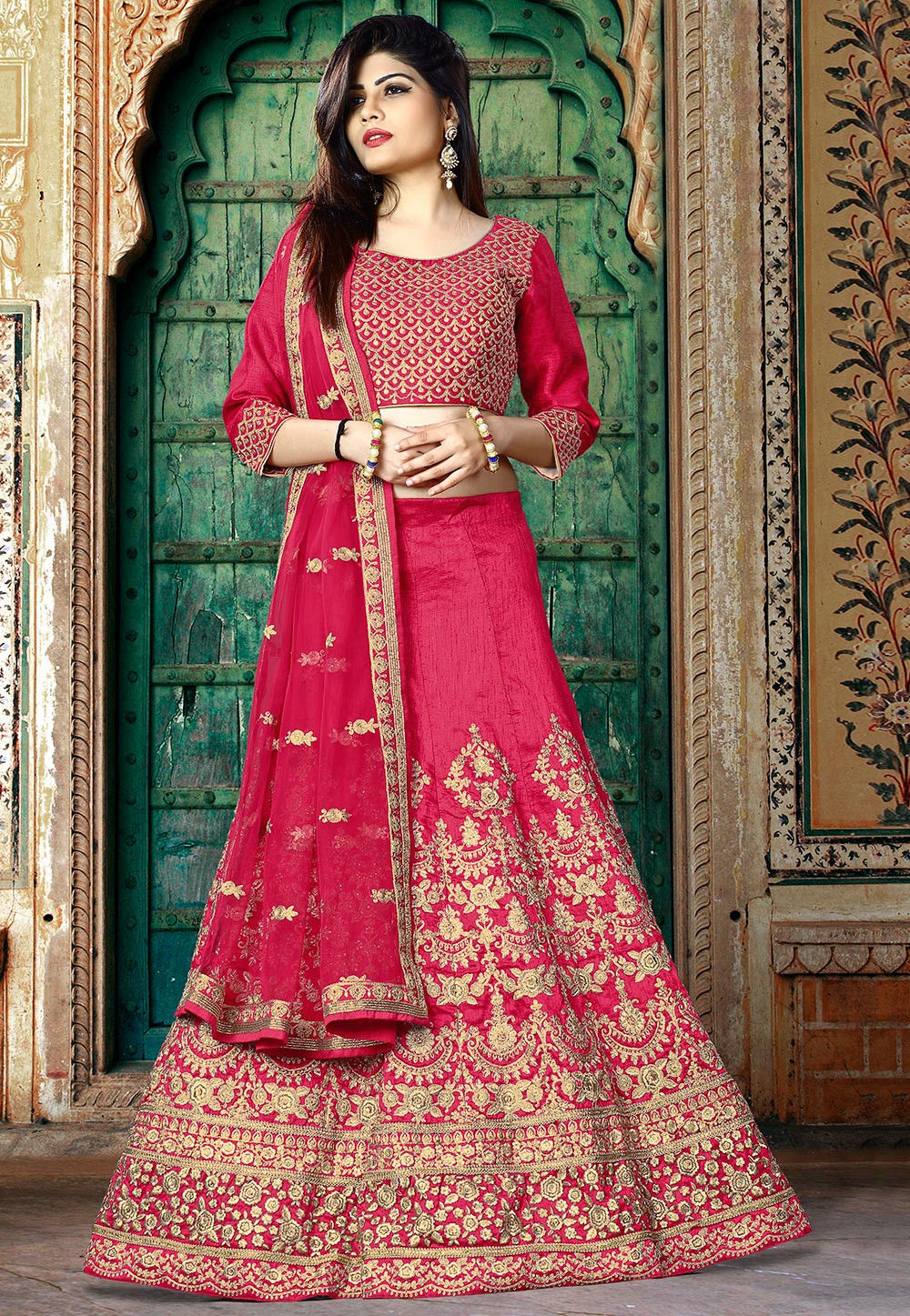 Embroidered Art Silk Lehenga in Pink