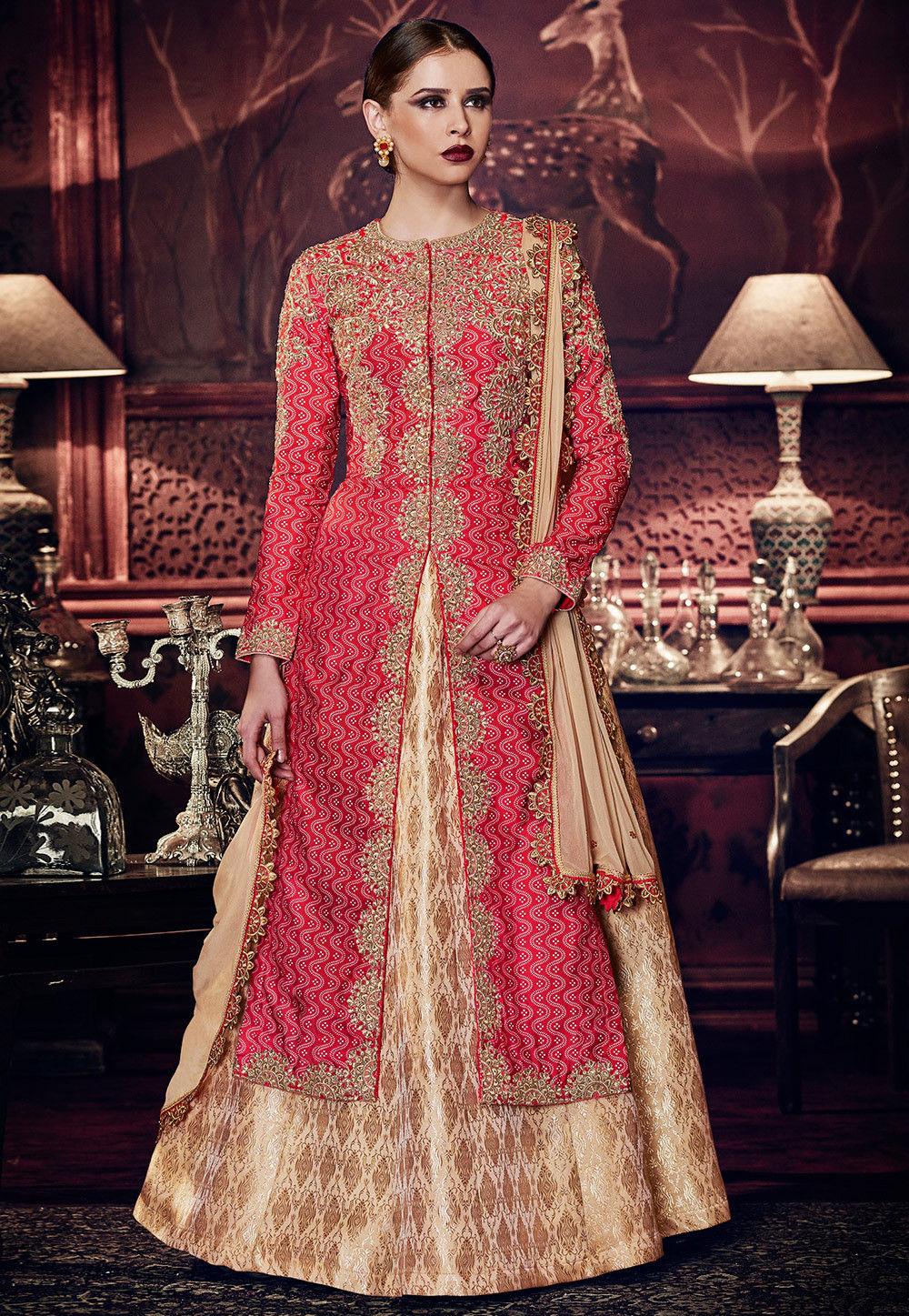 Embroidered Art Silk Lehenga in Red and Beige