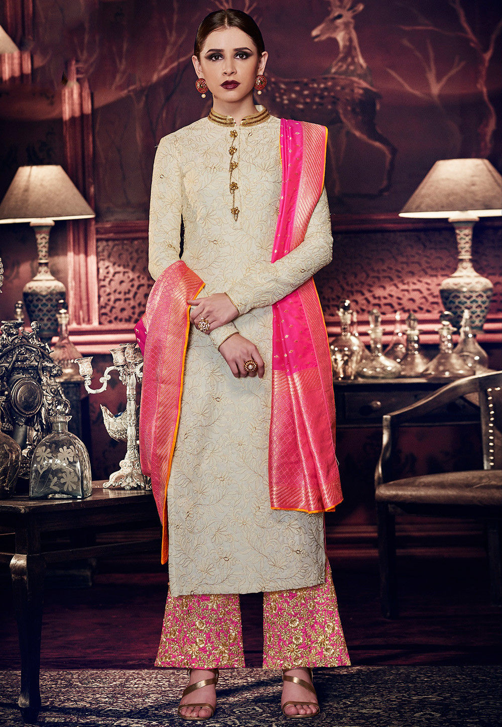 Embroidered Art Silk Pakistani Suit in Off White