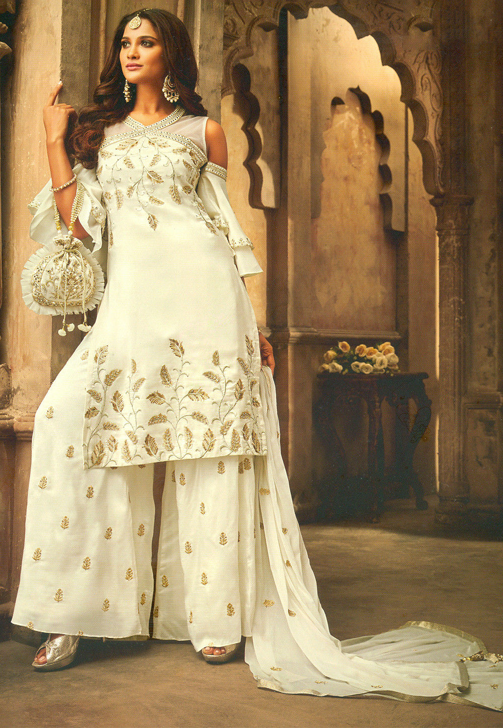 Embroidered Art Silk Pakistani Suit In Off White Kch2817