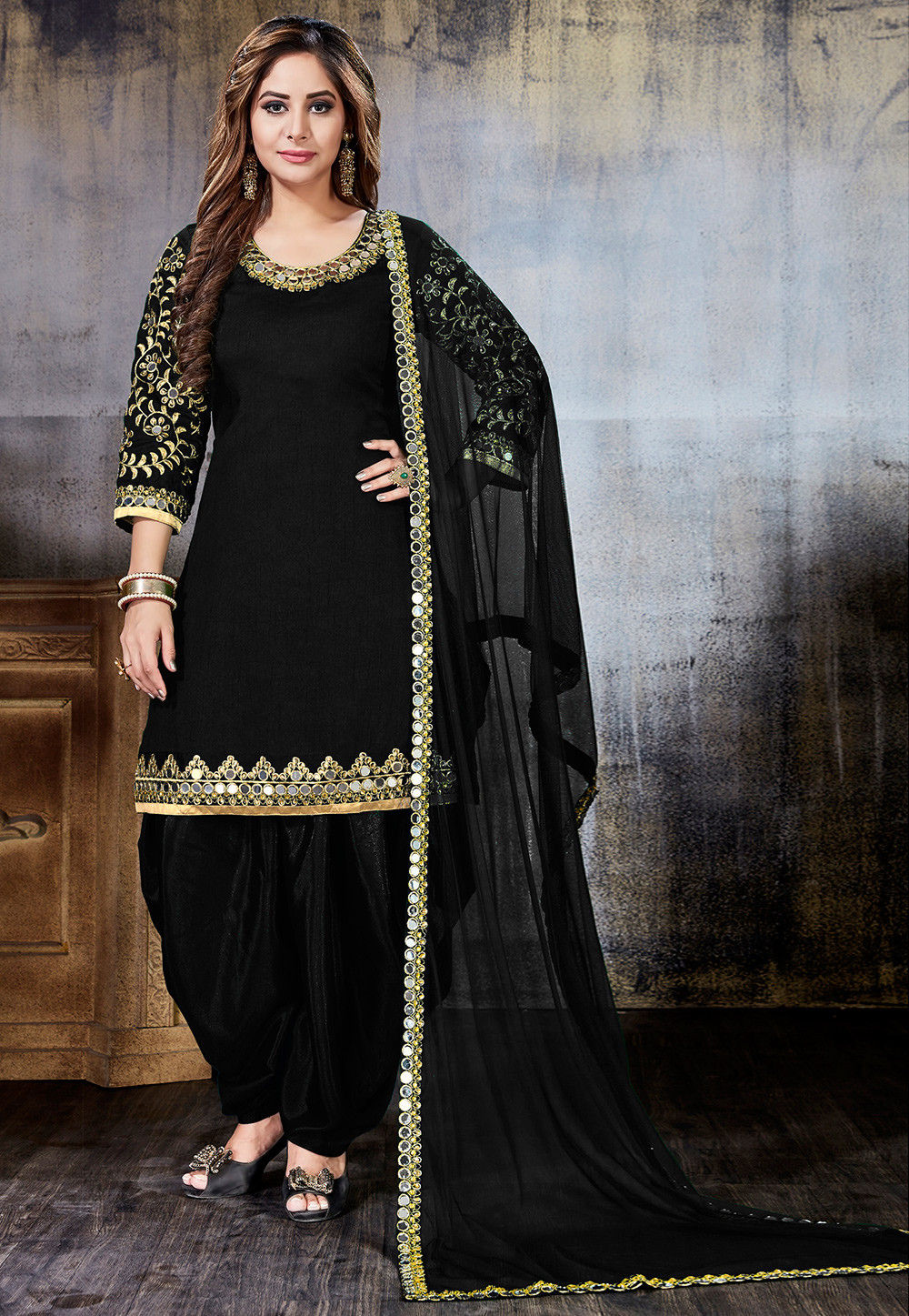 Embroidered Art Silk Punjabi Suit in Black