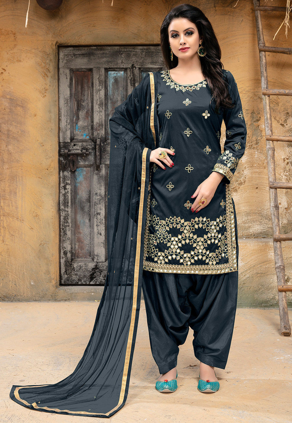 Embroidered Art Silk Punjabi Suit in Charcoal Grey