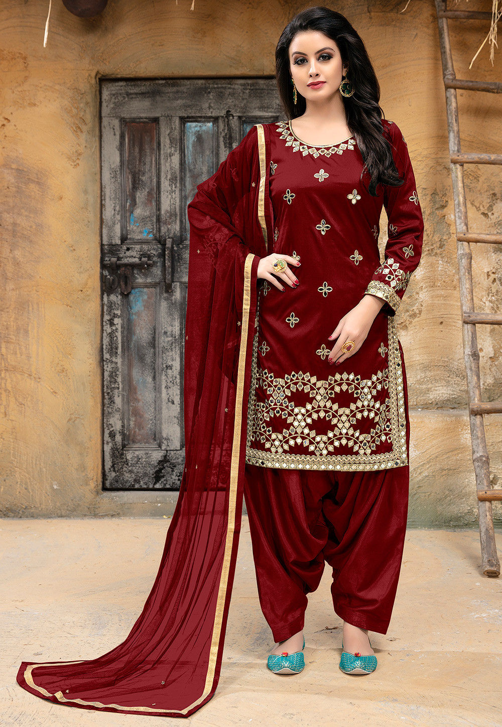 Embroidered Art Silk Punjabi Suit in Maroon
