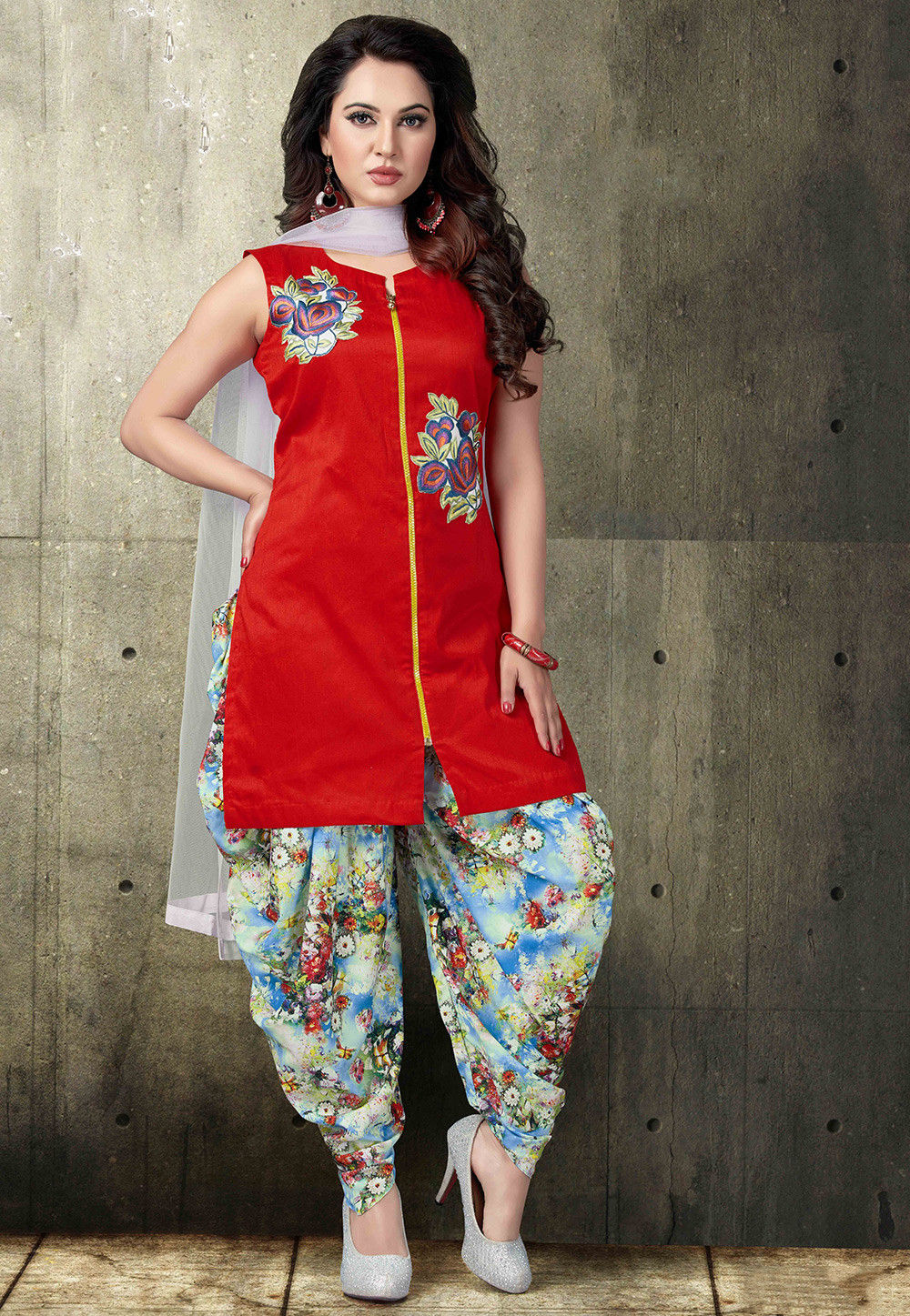 Embroidered Art Silk Punjabi Suit in Red