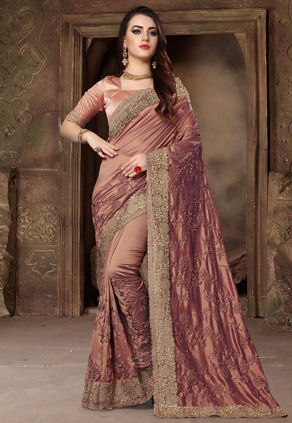 82fe33db5fd785 ... Embroidered Art Silk Saree in Rose Gold. Zoom