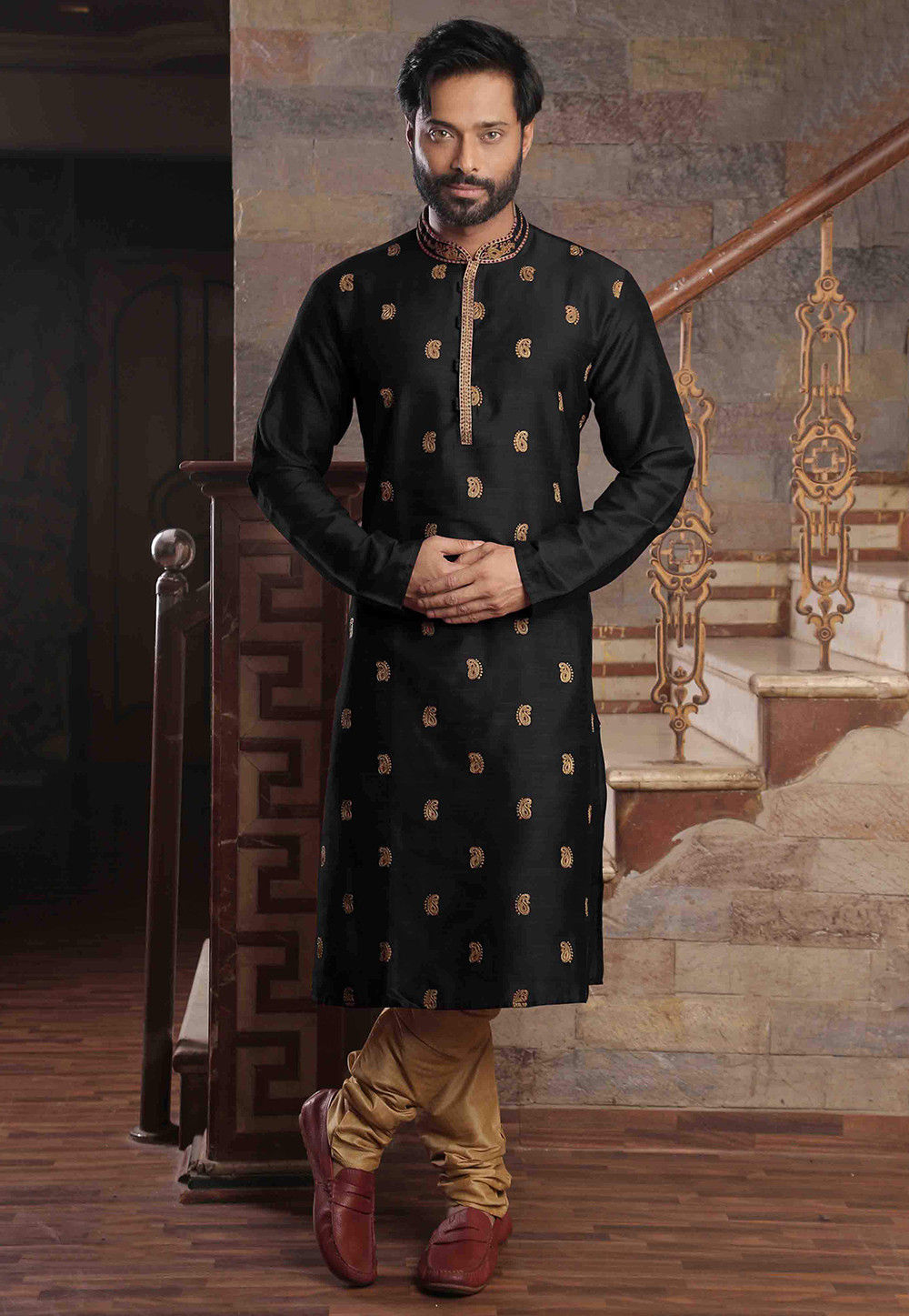 Embroidered Art Silk Slub Kurta Set in Black