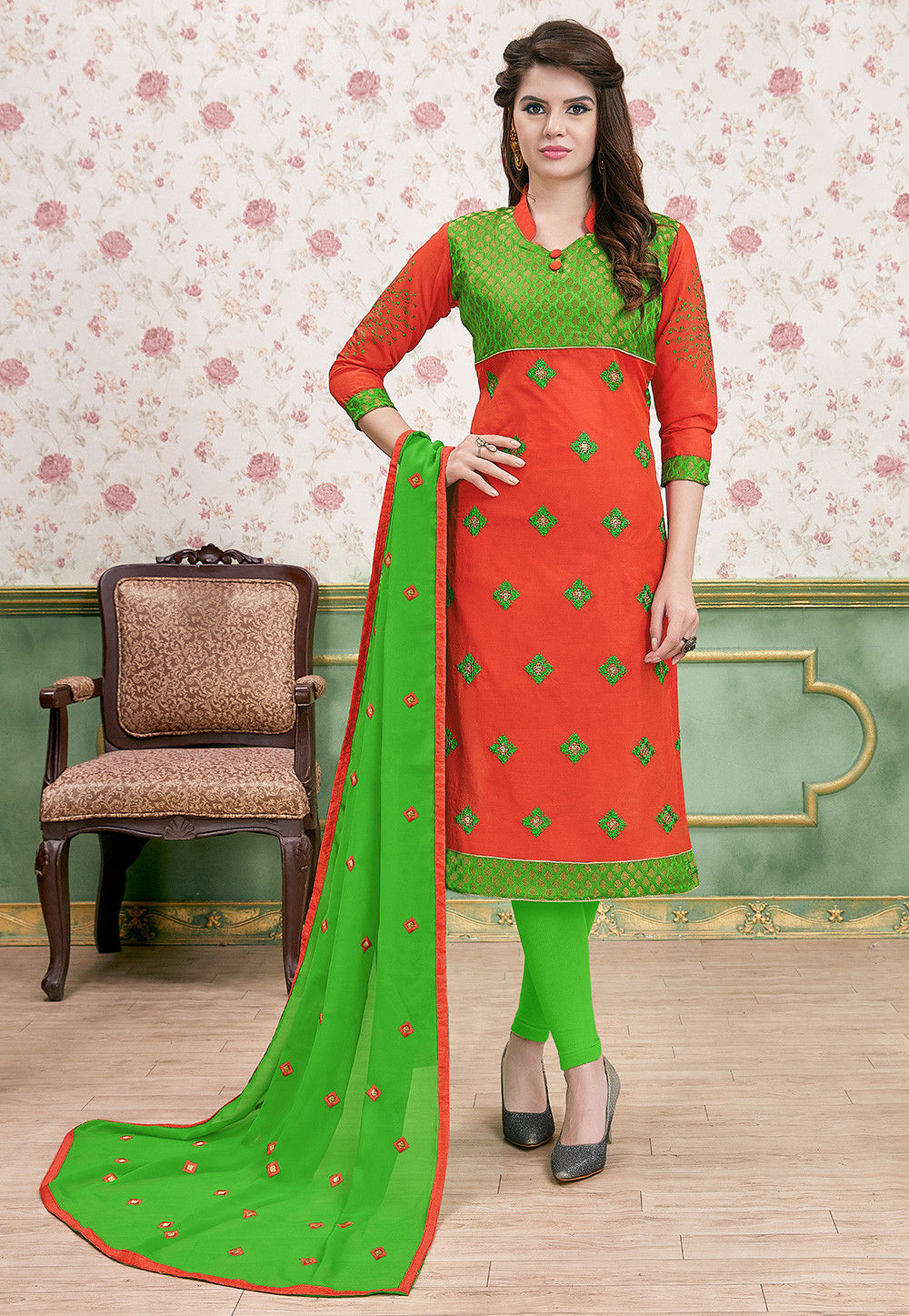 Embroidered Art Silk Straight Suit in Orange and Green