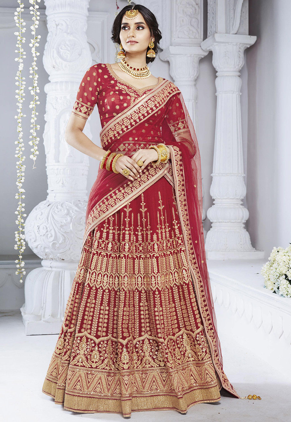Embroidered Bhagalpuri Silk Lehenga in Red