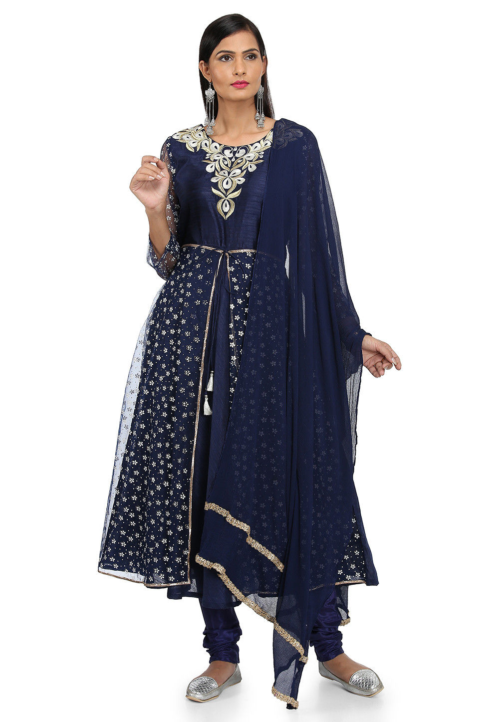 Embroidered Bhagaluri Silk A Line Suit in Navy Blue