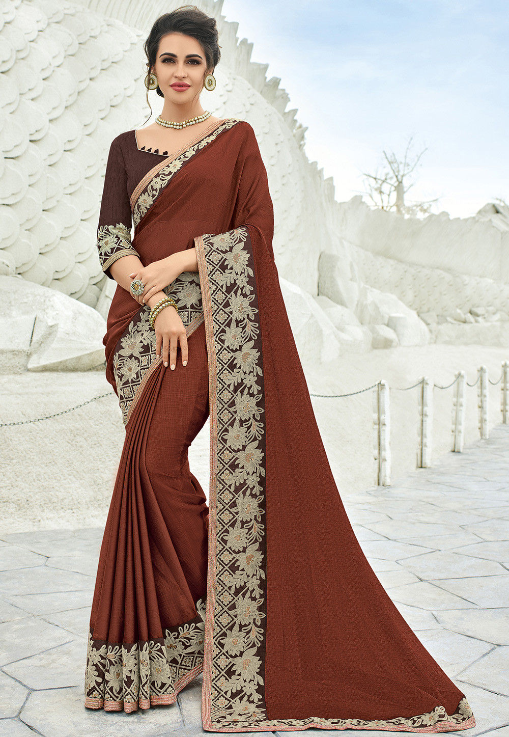Embroidered Border Chiffon Saree in Brown