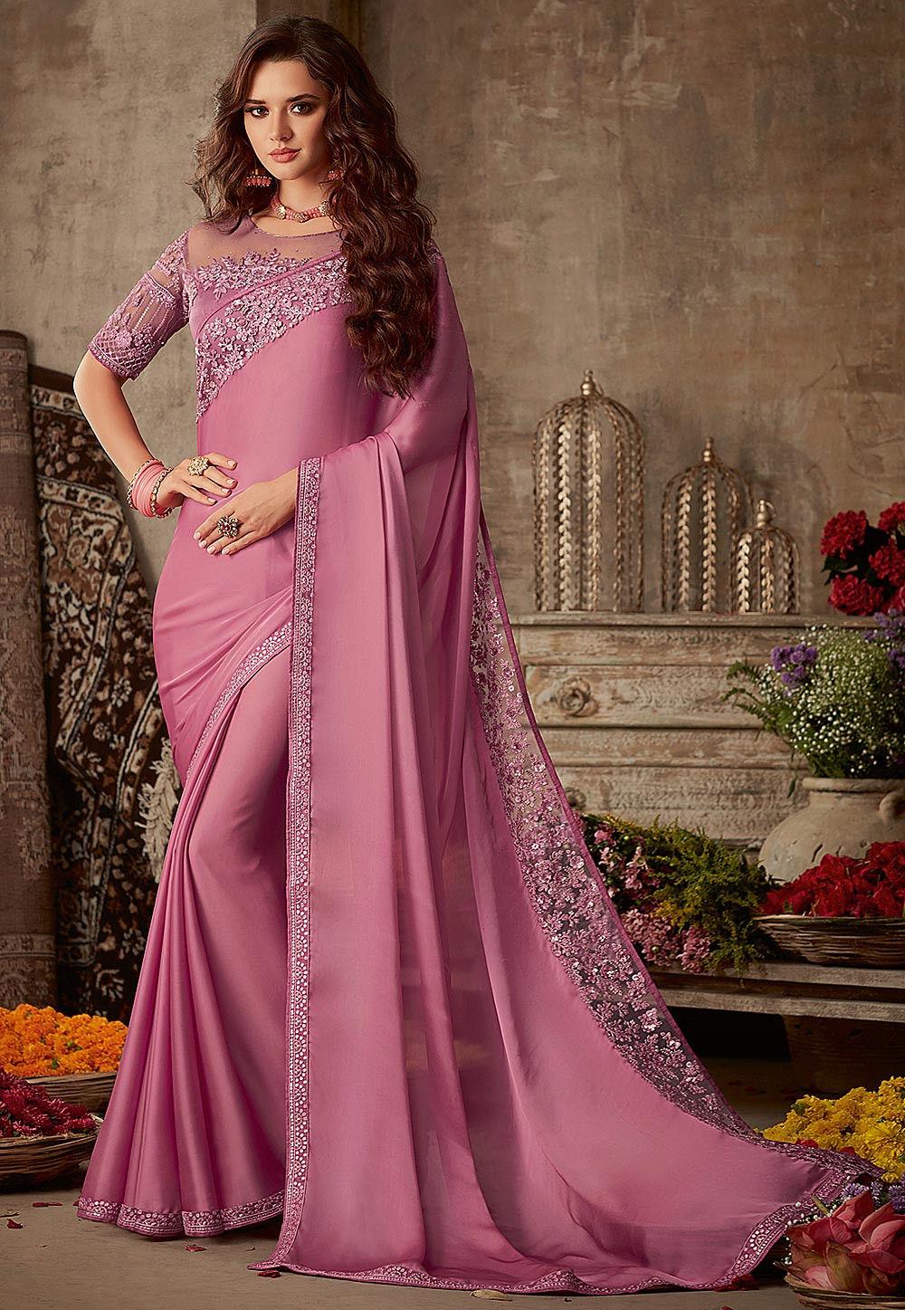Embroidered Border Satin Saree in Pink : SFVA1148