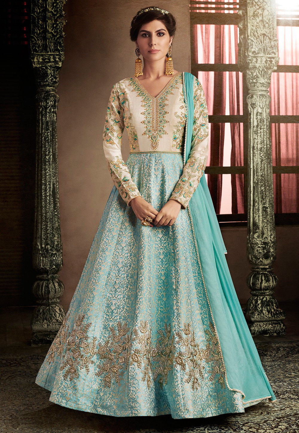 Embroidered Brocade Silk Abaya Style Suit in Light Blue and Off White