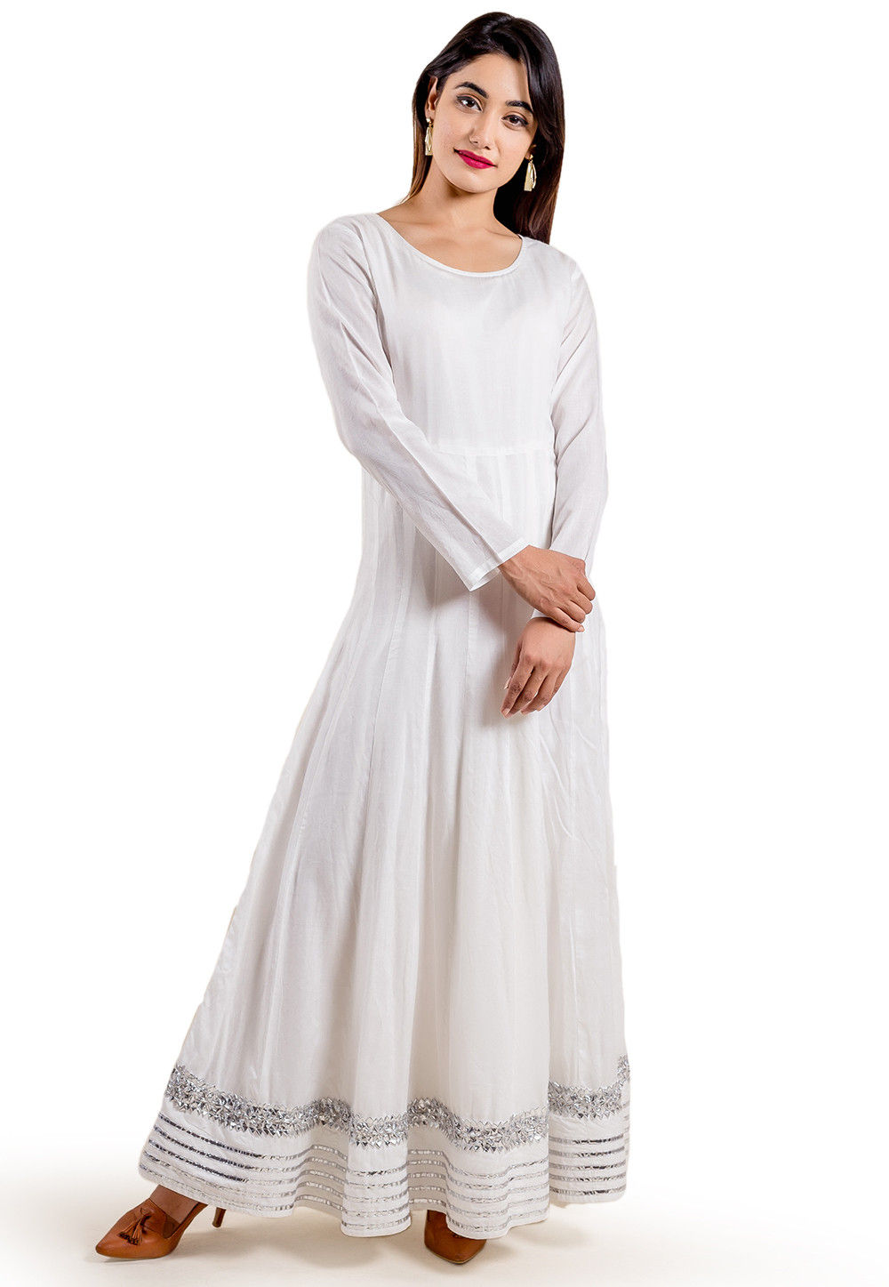 290bab41e1 ... Embroidered Chanderi Silk Anarkali Gown in Peach and White. Zoom. View  Similar