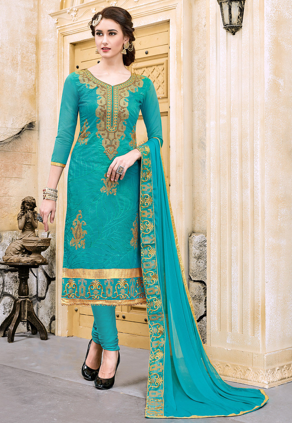 Embroidered Chanderi Silk Straight Suit in Teal Blue