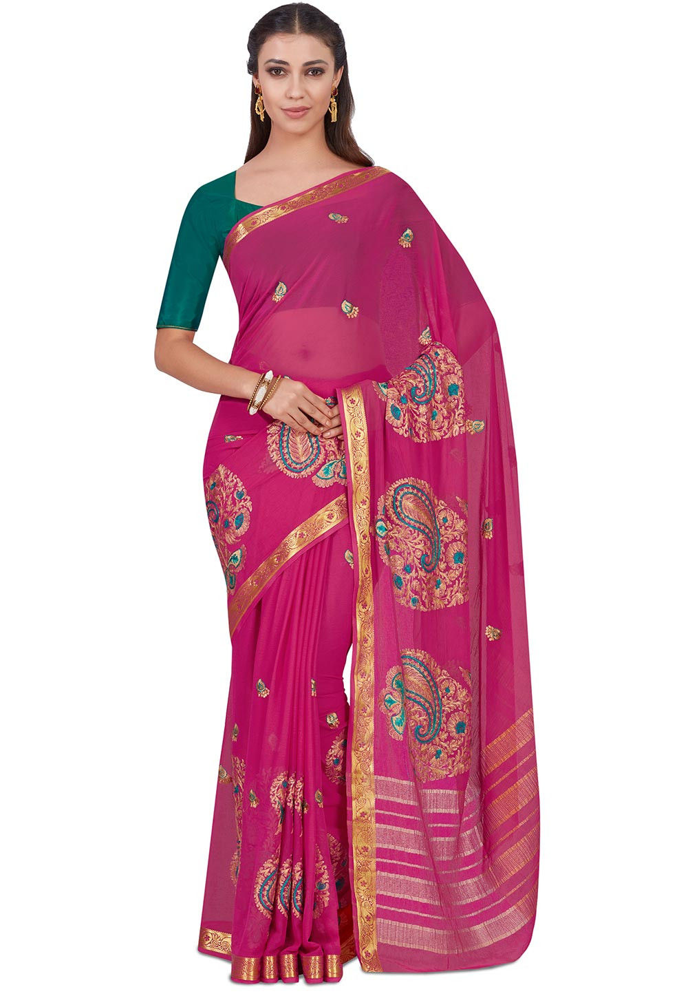 Embroidered Chiffon Saree in Fuchsia