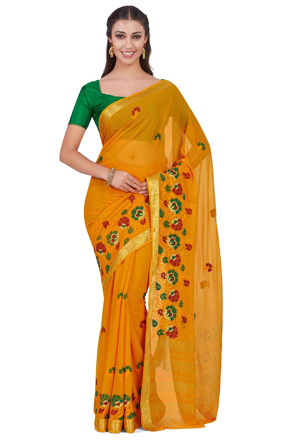 Embroidered Chiffon Saree in Mustard