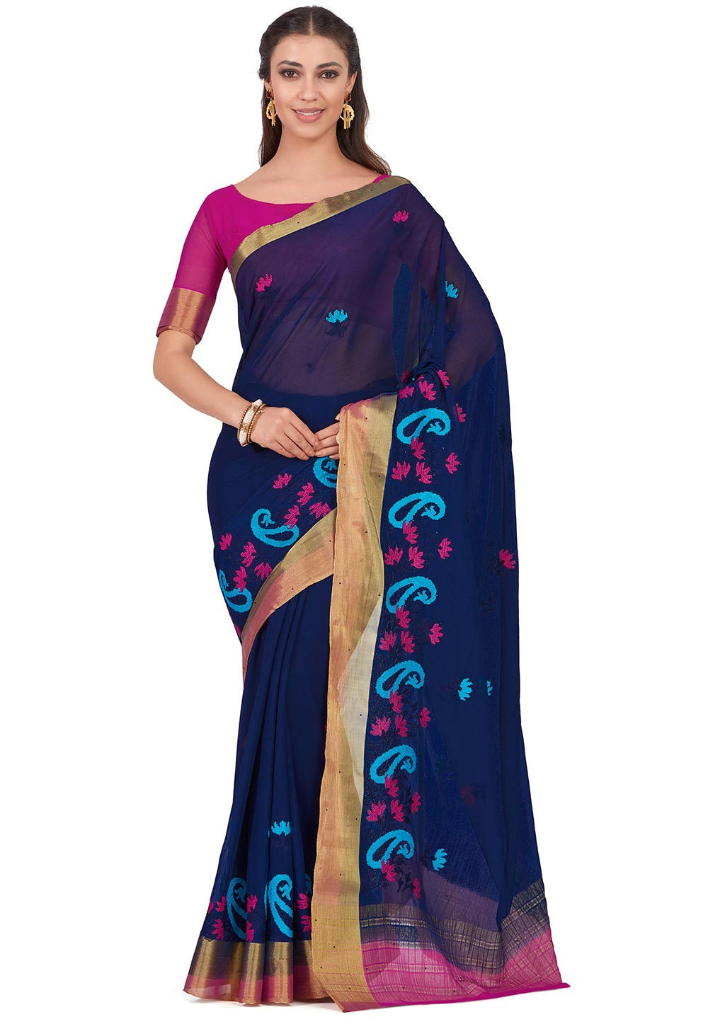 Embroidered Chiffon Saree in Navy Blue